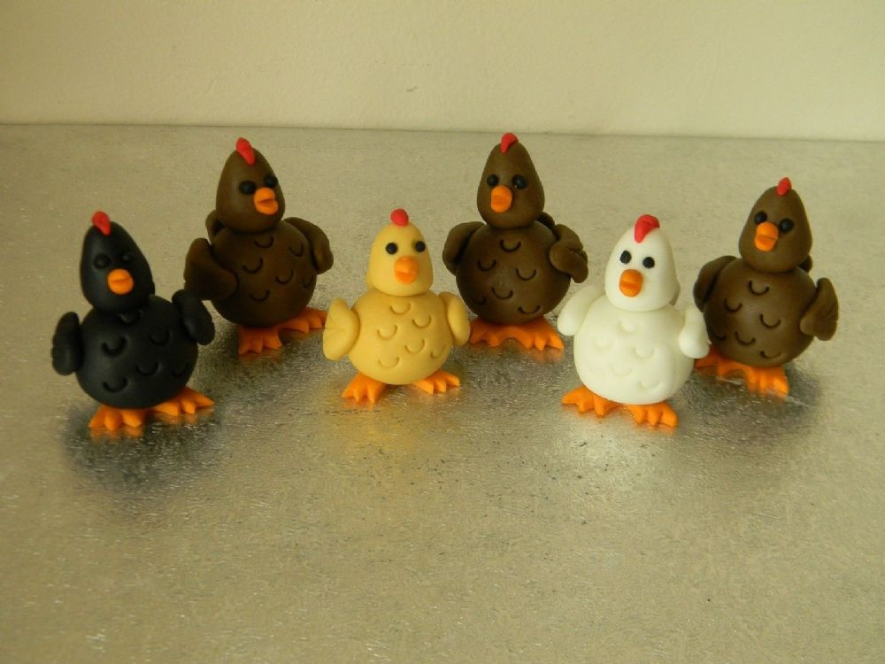 12 Chicken Cupcake Toppers